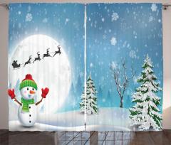 Kardan Adam Desenli Fon Perde Çam Kar Mavi Beyaz