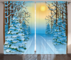 Karlı Orman Gün Batımı Fon Perde Mavi Beyaz Kar Gün Batımı
