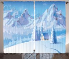 Karlı Dağ ve Kulübe Fon Perde Karlı Dağ Manzaralı Mavi