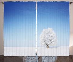 Karlı Ağaç Desenli Fon Perde Romantik Mavi Beyaz