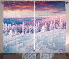 Karlı Orman Fon Perde Gün Batımı Beyaz