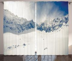 Karlı Dağ Desenli Fon Perde Karlı Dağ Manzaralı
