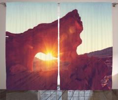 Dağ Manzaralı Fon Perde Güneş Kahverengi Turuncu