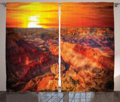 Büyük Kanyon Manzaralı Fon Perde Turuncu Güneş