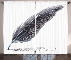 Tüylü Kalem Desenli Fon Perde Siyah Nostaljik
