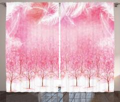 Kiraz Çiçekleri Desenli Fon Perde Pembe Trend Ağaç