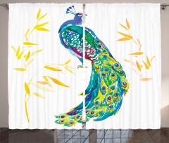 Tavus Kuşu Desenli Fon Perde Sarı Mavi Şık Tasarım