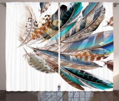 Kuş Tüyü Desenli Fon Perde Mavi Kahverengi Şık