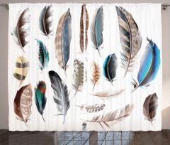 Şık Kuş Tüyü Desenli Fon Perde Mavi Kahverengi