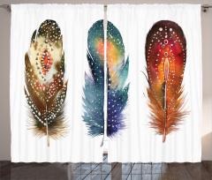 Kuş Tüyü Desenli Fon Perde Sulu Boya Şık Tasarım