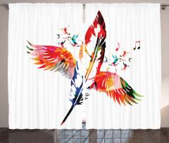 Kırmızı Kuş Tüyü Fon Perde Şık Tasarım