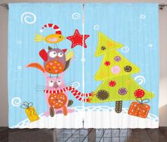 Kedi Kuş ve Çam Fon Perde Yılbaşı Coşkusu Mavi