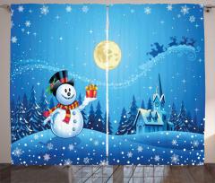 Kardan Adam Desenli Fon Perde Mavi Gökyüzü Hediye