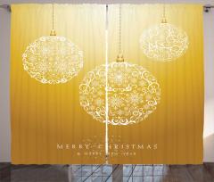 Çiçekli Yılbaşı Topları Fon Perde Dekoratif Sarı