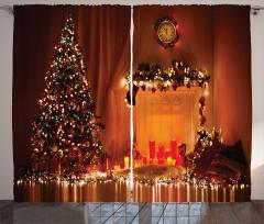 Işıklı Çam Ağacı Fon Perde Mum Yılbaşı Dekoratif