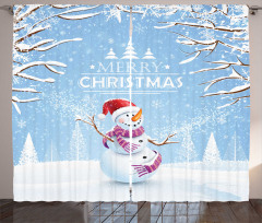 Gülen Kardan Adam Fon Perde Ağaç Mavi Noel