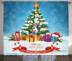 Rengarenk Paketler Fon Perde Noel Çam Ağacı