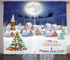 Uçan Geyikler ve Noel Fon Perde Karlı Evler