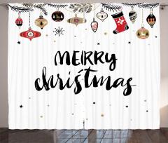 Noel Süsleri Desenli Fon Perde Beyaz Siyah Kırmızı