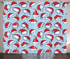 Noel Baba Şapkası Fon Perde Mavi Beyaz Şık
