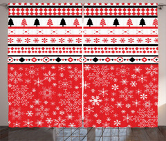 Kar ve Çam Motifli Fon Perde Beyaz Siyah Kırmızı
