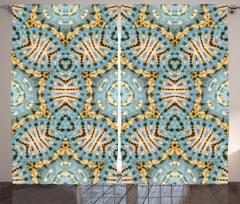 Sarı Mavi Geometrik Fon Perde Yıldızlı