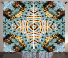 Geometrik Batik Desenli Fon Perde Kahverengi Mavi