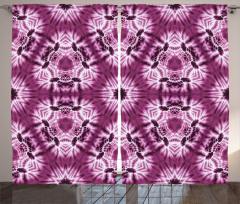 Batik Tarzı Geometrik Fon Perde Mor Beyaz