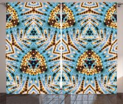 Batik Etkili Geometrik Fon Perde Şık Mavi