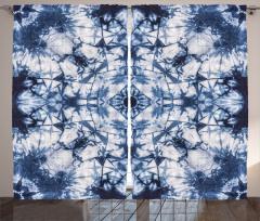 Lacivert Beyaz Desenli Fon Perde Şık Geometrik