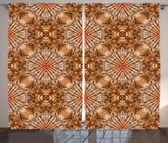 Kahverengi Geometrik Fon Perde Şık Dizayn