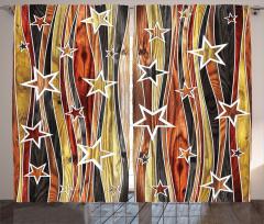 Ahşap Efektli Yıldız Fon Perde Dekoratif