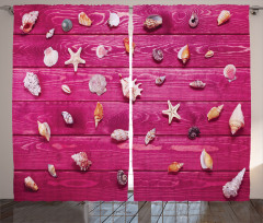 Deniz Kabuğu Desenli Fon Perde Mor Ahşap Arka Plan