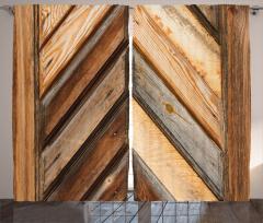 Diyagonal Ahşap Temalı Fon Perde Eskitme Efektli