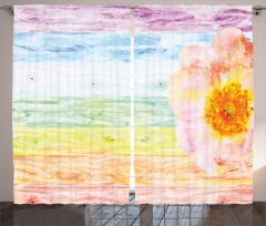 Rengarenk Ahşap Desenli Fon Perde Sarı Çiçekli