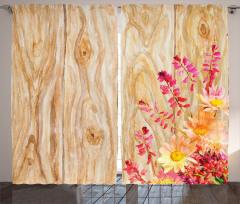 Mor Sarı Çiçek Desenli Fon Perde Ahşap Arka Planlı
