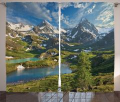 Dağ Gölü Manzaralı Fon Perde Yeşil Mavi Gökyüzü