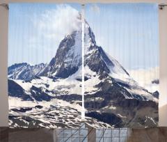 Dağ Manzaralı Fon Perde Kar Gri Gökyüzü Doğa Bulut