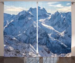 Karlı Dağ Manzaralı Fon Perde Kış Gökyüzü Beyaz