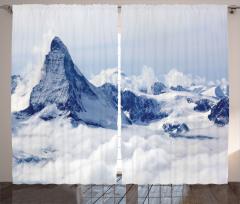 Karlı Dağ Manzaralı Fon Perde Kar Gökyüzü Bulut