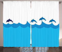 Denizde Yüzen Yunuslar Fon Perde Denizde Yüzen Yunuslar Mavi Beyaz