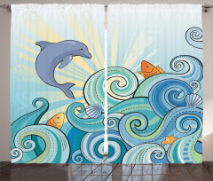 Yunus ve Balıklar Fon Perde Yunus ve Balıklar Mavi