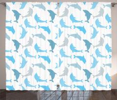 Gri ve Mavi Yunuslar Fon Perde Mavi Gri Yunus Desenleri Deniz