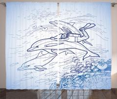 Dalgıç ve Yunuslar Fon Perde Yunus ve Balıklar