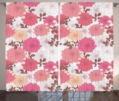 Pembe Çiçekli Desen Fon Perde Pembe Çiçekli Şık Tasarım