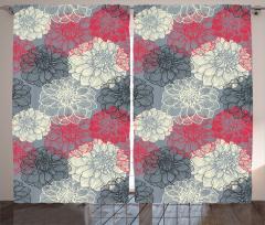 Şık Çiçekli Desen Fon Perde Çiçek Desenli Kırmızı Siyah Beyaz