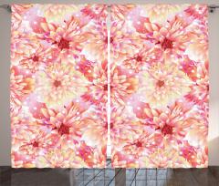 Pembe ve Sarı Çiçekler Fon Perde Pembe Çiçekli Şık Tasarım