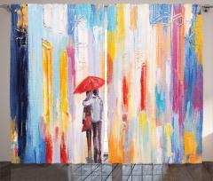 Yağmurda Yürüyen Aşık Fon Perde Romantik Yağmur