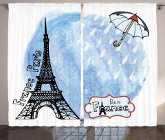Yağmurlu Paris Fon Perde Romantik Mavi