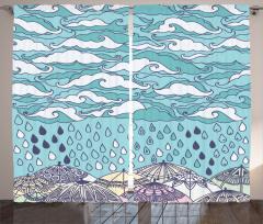 Bulutlar ve Yağmur Fon Perde Mavi Bulutlar Şık Tasarım